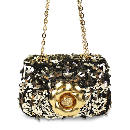 Ava Sequins Flower Bag (gold)