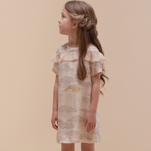 Silk Shift Dress (giraffe plains)