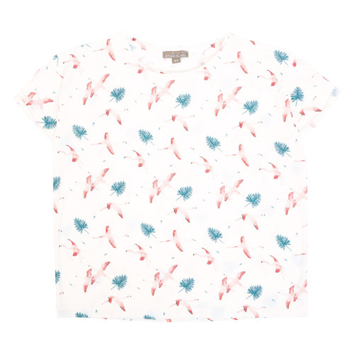 [2,8y]Tshirt #339a (craie flamand rose)