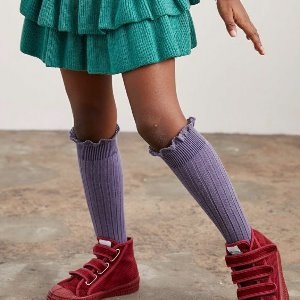 Lace High Socks #777 Fleru de Lavande