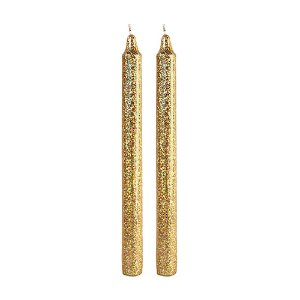 Candle Glitter Gold (set of 2)